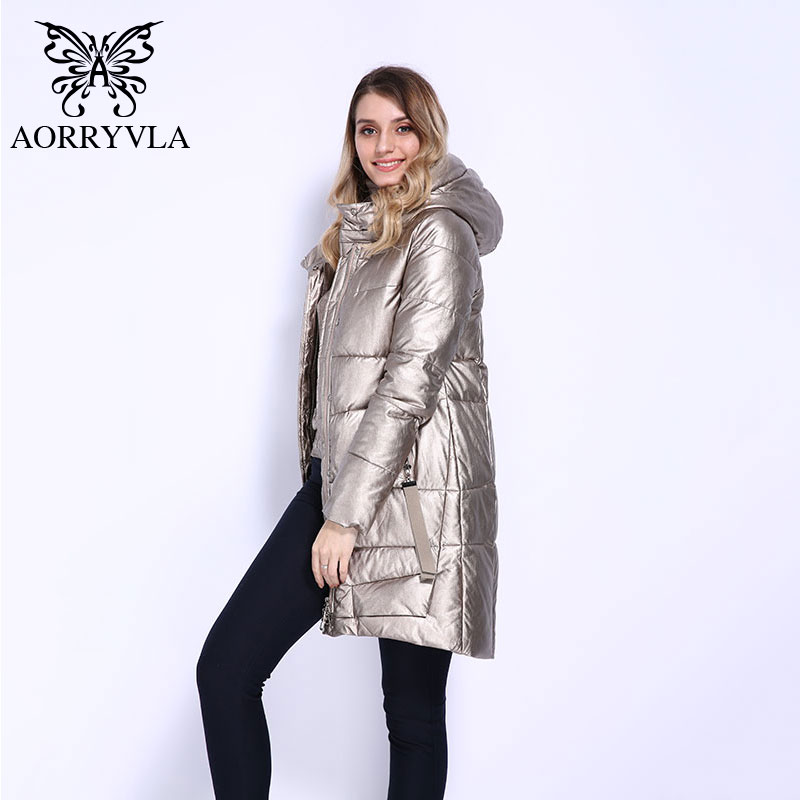 AORRYVLA 2018 New Winter Collection Women's Winter Jacket Long Sleeve Puffer Jacket With an Adjustable Hood Thick Warm   Parka