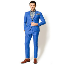 Blue classic men's suit formal Slim suit suit groom high-quality groomsmen custom men's clothing (jacket + pants)