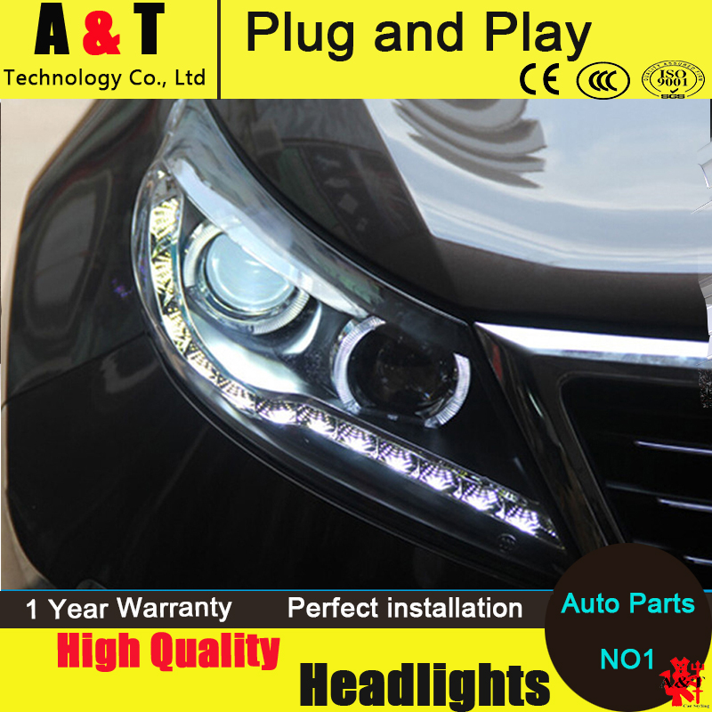 Car Styling Head Lamp for Kia Sportage R led headlight assembly 2011-2013 Angel eye led H7 with hid kit 2pcs.