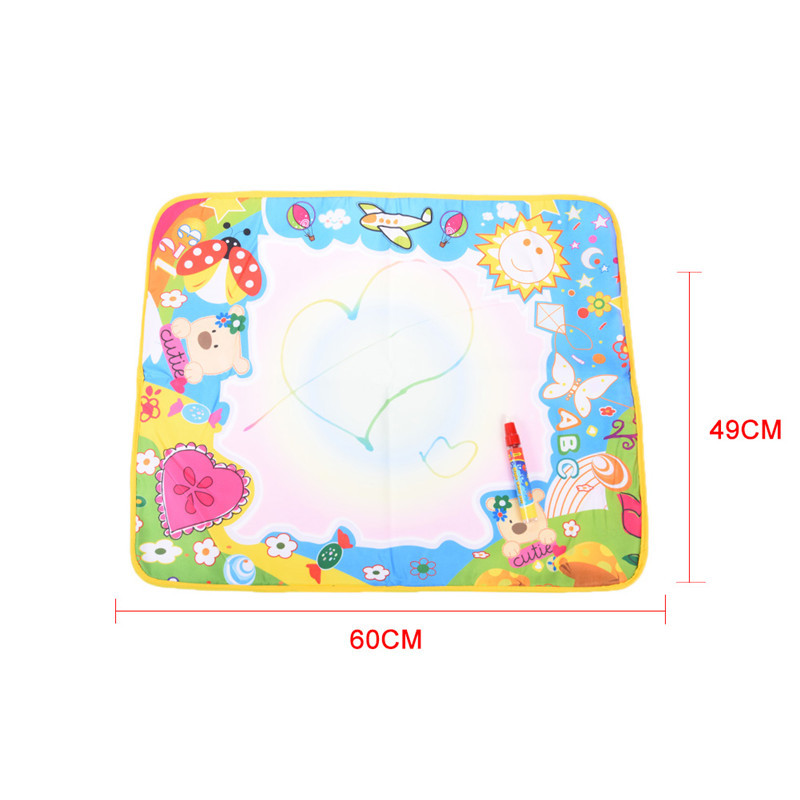 60x 49cm Fantastic Magic Water Doodle Mat Colorful Animal World Graffiti Canvas Drawing Mat with Magic Pen Board Drawing Toys