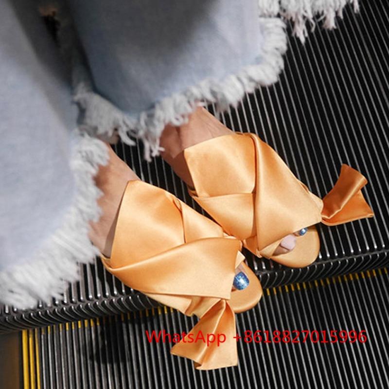 ФОТО Fashion Women's Silk Slippers Women Summer Flats Shoes Korean Big Bowtie Ribbon Sandals Fashion Butterfly Knot Sandals Peep Toe