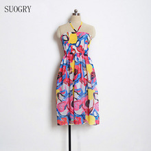SUOGRY Summer Floral Print Women Chiffon Dress Shoulder Spaghetti Strap Female Tunic Girl Casual Beach Dresses