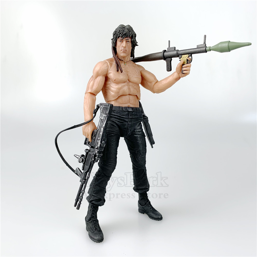 First Blood Part 2 II MOVIE John J Rambo 7 Action Figure Sylvester Stallone Original NECA