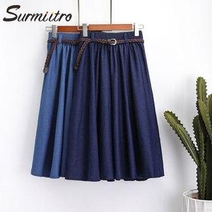 Image 5 - женская юбка миди с джинсовым поясом SURMIITRO, юбка длинная до колен в корейском стиле для женщин летом