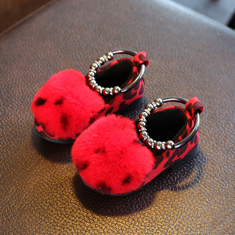 2017 Autumn And Winter Children Shoes New Fahion Leather Girls Shoes plush Cotton Wool Woolen Beads Kids Sheos Princess Shoes