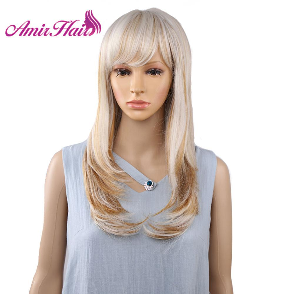 Amir Hair Wig Synthetic Wigs With Bangs Long Blonde Wig Natural Straight Women Wigs For Party Cosplay