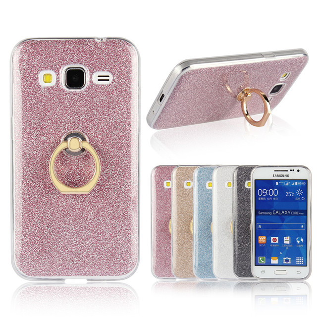 buy popular 2b704 bfe7a US $3.19 |Flash powder TPU Soft Silicone Back Cover With Ring Case Cover  For Samsung Galaxy Core Prime G360 G360F G361 G361H Coque Fundas-in ...