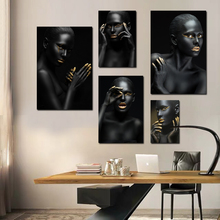 Black Girl Pose Wall Art Prints Painting Frame Scroll Decorative Canvas Nordic Decoration Home