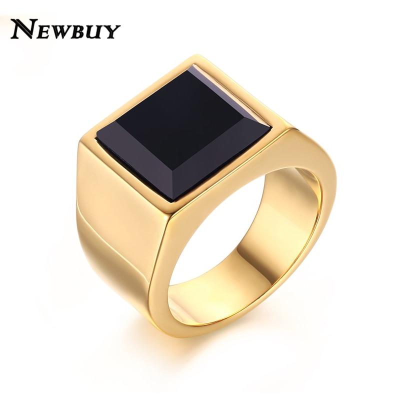 NEWBUY Brand Men Ring Hot Sale Black Glass Stone Wedding Ring Gold