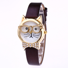 glasses fashion Wrist watches for Women Buckle mini cat Animal Shape The cat face belt Quartz Watch Leather Cartoon  wristwatch