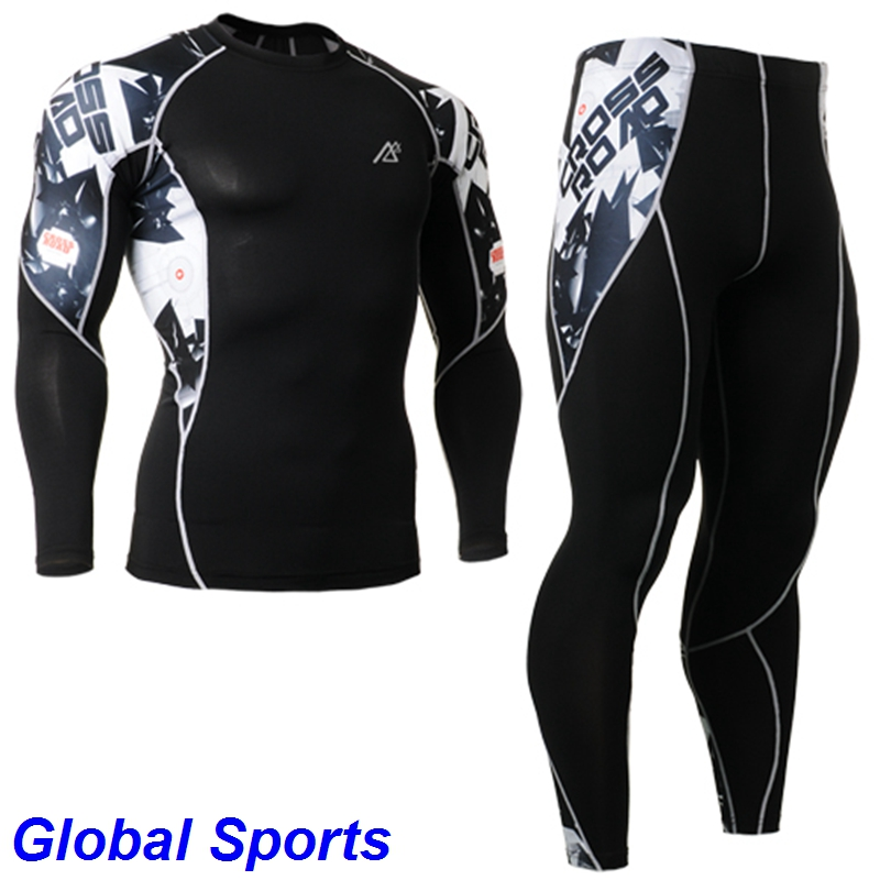 2017 hommes Compression Base couche ensembles printemps hommes Long Fitness ensemble costumes élastique fitness Gym course collants ensembles grande taille