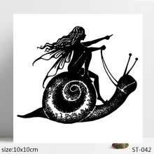 ZhuoAng Snail Girl Clear Stamps/Seals For DIY Scrapbooking/Card Making/Album Decorative Silicon Stamp Crafts zhuoang landscape painting clear stamps for diy scrapbooking card making album decorative silicon stamp crafts