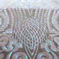 La Belleza 1 yard Magic pink sequins on 4 ways stretch mesh embroidered wedding dress/evening dress lace fabric 51'' width