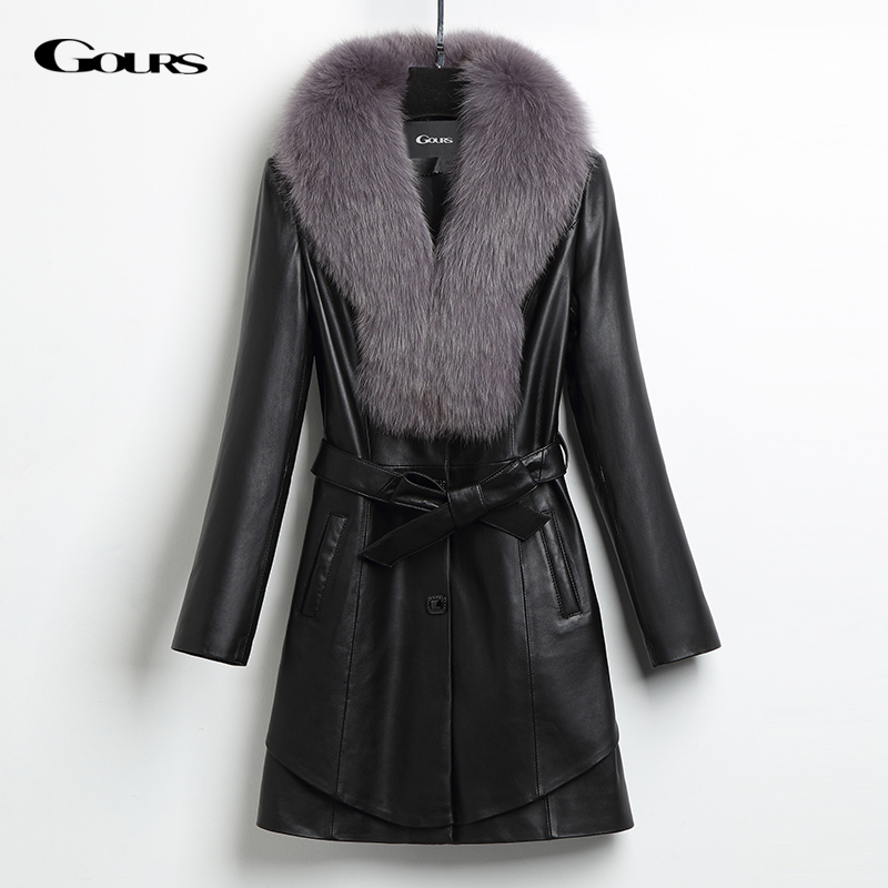 Gours Women's Genuine Leather Duck Down Jacket Black Sheepskin Overcoat with Fox Fur Collar Winter Warm Parka New Arrival HS1035