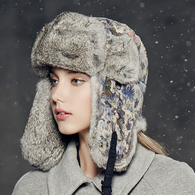 Kenmont Winter Outdoor Warm Women Girl Lady Real Natural Rabbit Fur Bomber Aviator Trapper Hat Ski Cap 2319