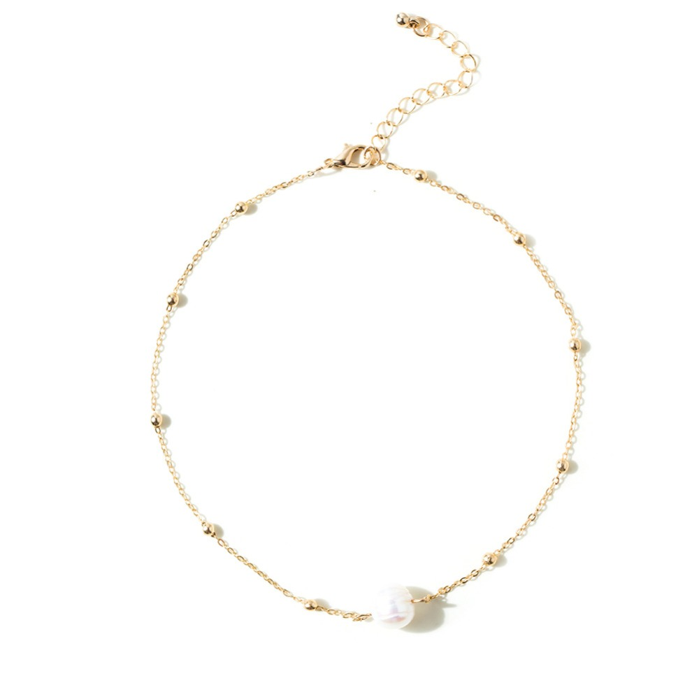 Women Choker Necklace Freshwater Pearl Necklace Gold Color Chain Clavicle Chain Necklaces 2018 Fashion Jewelry For Girl  (5)