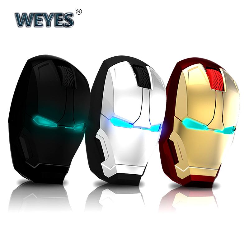 Iron Man Mouse Wireless Mouse Gaming Mouse Gamer Mute Button Silent Click 800/1200/1600 / 2400DPI Adjustable Computer Mice
