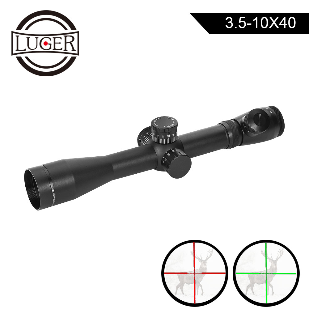LUGER Optic Sight 3.5-10X40 Rifle Scope Side Parallax Focus Adjust Reticle Riflescope Hunting Scope Airsoft Collimator Sight