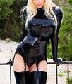 Produtos do sexo erótico Sexy mulheres de lingerie uniforme preto roupa da empregada doméstica fetiche trajes blusa com garter luvas camisa Tops t-shirt