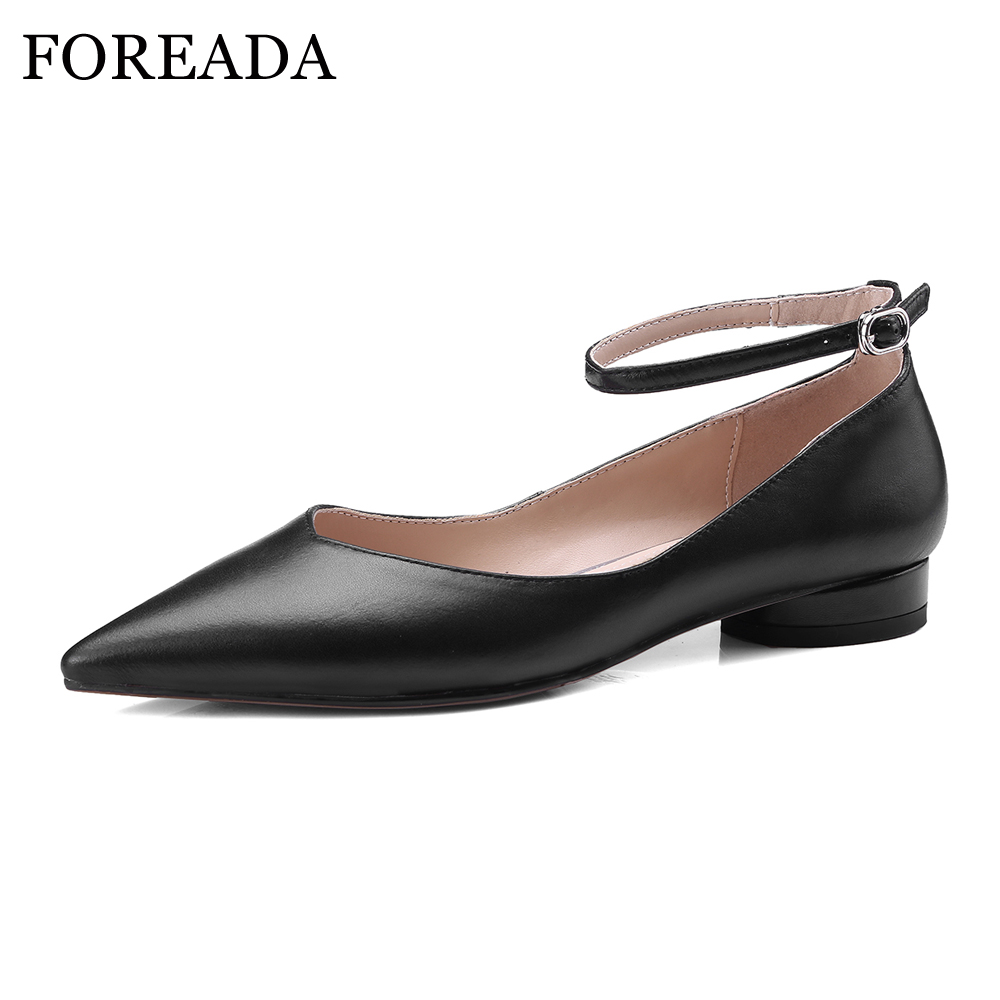 FOREADA Ballet Flats Shoes Genuine Leather Women 2018 Shoes Ankle Strap Buckle Flat Black Pointed Toe Casual Shoes Ladies Spring meotina women flat shoes ankle strap flats pointed toe ballet shoes two piece ladies flats beading causal shoes beige size 34 43