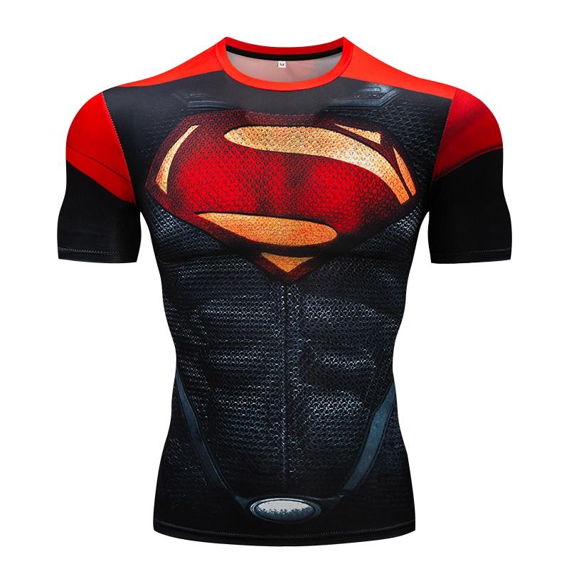 T-Shirt dos homens Academias de fitness Magro Tops 3D Super Hero Superman Compressão Camisa T-Shirt de Fitness roupas de Verão Em Torno do pescoço estiramento