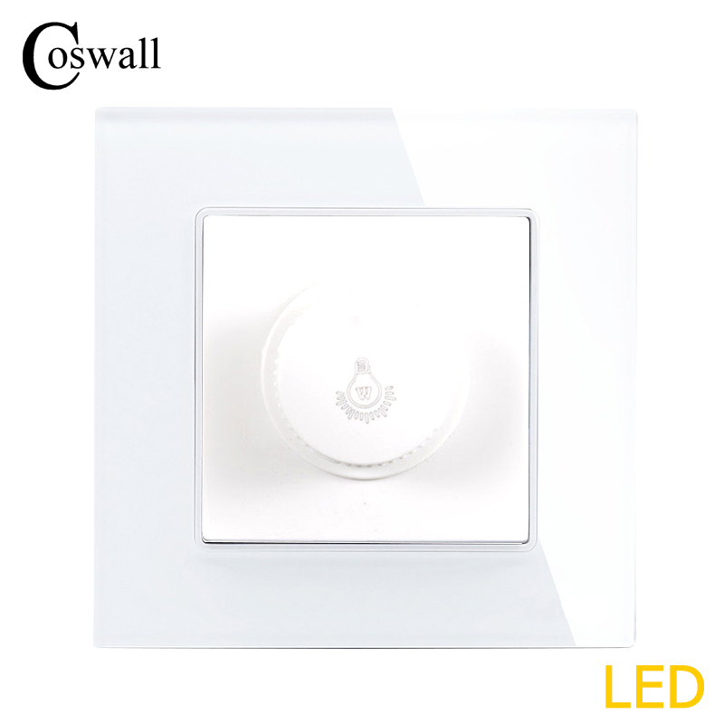 COSWALL Lamp Dimmer Regulator Only For LED Light Bulb Luxury Crystal Glass Panel Wall Light Switch Interruptor 16A 0~300W coswall 16a eu standard wall double socket dimmer regulator light switch stainless steel panel 236 86mm