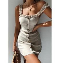 купить Summer Women Dress Sexy Loose Strapless Slash Neck Off Shoulder Sling Dress Front Button Sleeveless Brief Vestidos по цене 585.52 рублей
