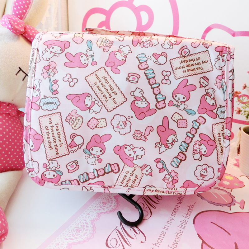Cute Cartoon My Melody Cosmetic Bags Cartoon Girls Travel Wash Bags Lady Necessary Organizer Hang Makeup Bag Storage Beauty Bags