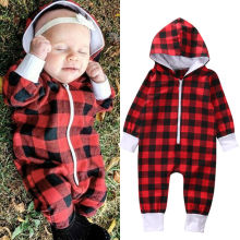 2016 New Fashion Newborn Baby Boy Girl Clothes Zipper Hooded Romper Red Plaid Rompers Jumpsuit One
