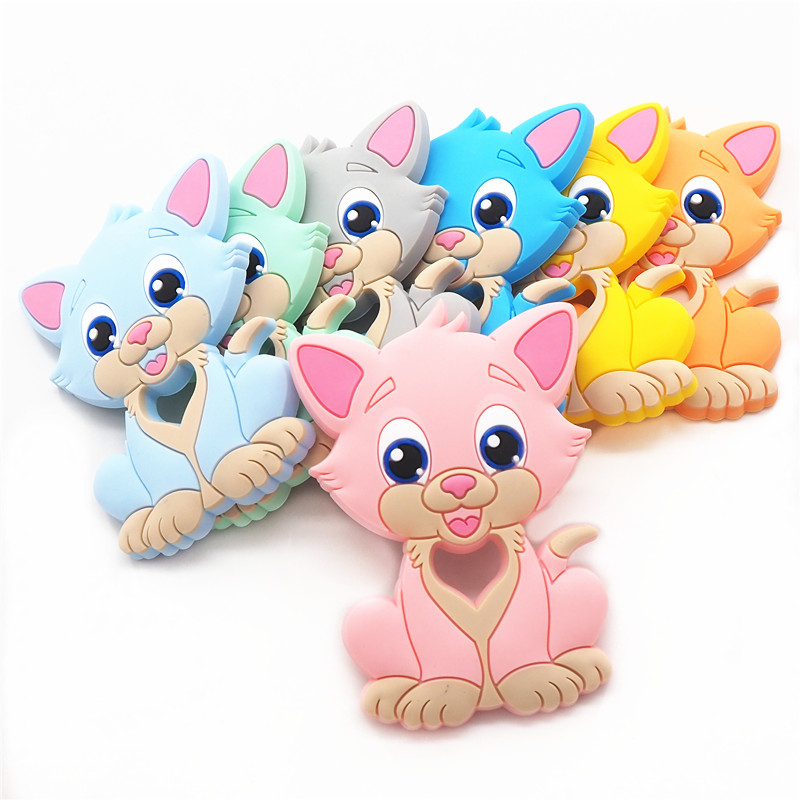 Silicone Cat Animal Teether Teething Baby Infant Nursing Chewing Pendant Toy New