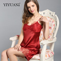 100% Natural Silk Nightdress Female Sexy Lace V-Neck Nightgowns Summer Sleeveless Genuine Silk Sleepwear D33105