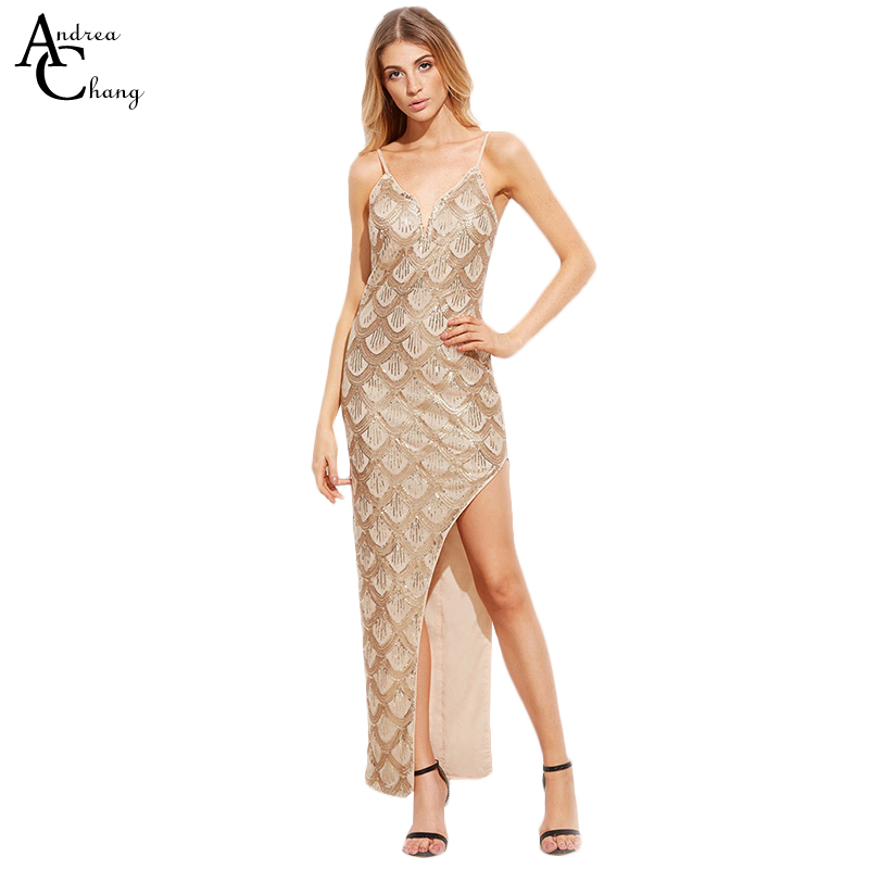 Spring summer woman dress beading sequin beige golden fish scale pattern ankle length dress asymmetric bottom sexy event dress