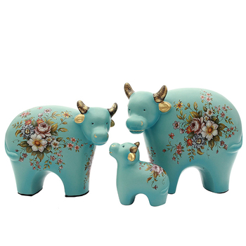 3PC Creative Cattles Sheeps Family Resin Miniatures Cute Cattle Sheep Figurine Home Desktop Decoration Accessories Birthday Gift
