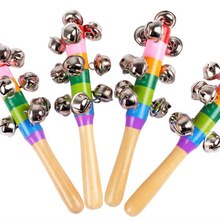 Colorful Rainbow Hand Held Bell Stick Wooden Percussion Musical Toy for KTV Party Kids Game