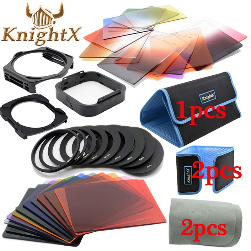 Prix pour KnightX 24 Filtre 9 Anneau cokin série p couleur Lentille Kit de nettoyage pour Canon Pentax Sony Nikon D3100 D7000 D5200 D5100 52 MM 58mm 77
