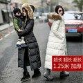 Женщины зима 2016 дешевые пальто свободные пуховик длинные плюс размер настоящее меховым воротником с капюшоном куртка дамы меховой подкладке белый черный стеганый