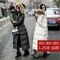 Mulheres casaco de inverno 2016 barato solto para baixo casaco longo plus size real gola de pele com capuz parka senhoras alinhado pele branca preto acolchoado