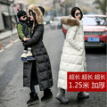 women winter 2016 cheap coat loose down jacket long plus size real fur collar hooded parka ladies fur lined white black quilted