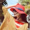 2016 Новый Летний Бренд Вс Hat Для Женщин Шляпу с Широкими Полями, плетение Sun Cap Мода Chapeu Feminino Большие Козырьки Пляж Шляпа-Панама