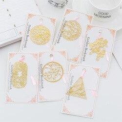 Nette kawaii metall gold lesezeichen vintage lesezeichen hohle blume dreieck runde form geschenk schule bürobedarf schreibwaren