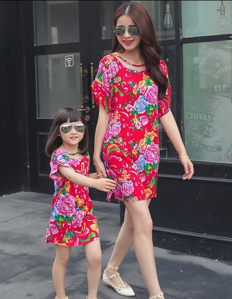 2pcs/lot Mom and daughter me Mother matching Summer Flower one-piece Dresses clothes sets family clothing outfits