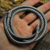 5 мм Ширина 925 серебро ручной работы безопасный узор Киль ожерелье пеньковая веревка длинный участок тайский серебряный Ретро мужское ожере