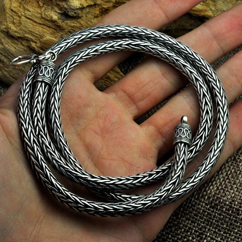 5 MM largeur 925 argent tissé à la main sûr motif quille collier chanvre corde longue section Thai argent rétro hommes collier