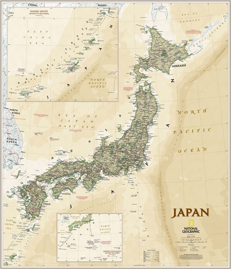 【high Quality Cotton Canvas Map Map Of Old Japan National