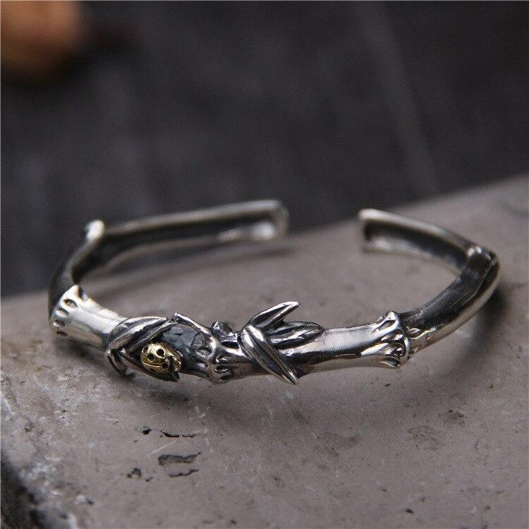 S925 Sterling Silver Vintage Bamboo Bracelets Bangles Retro Opening Thai Silver Bracelet thai silver bracelets
