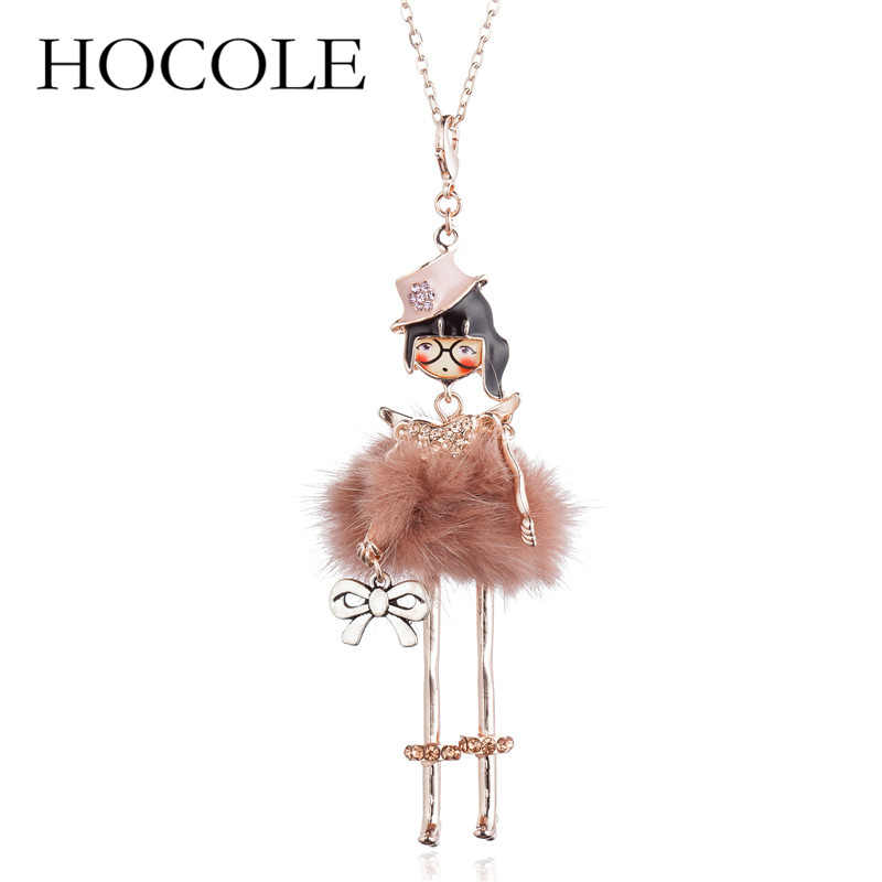 HOCOLE New 2018 Lovely Girl Doll Necklaces & Pendants Women Fashion Dress Bag Charms Collar Jewelry Classic Long Chain Necklace