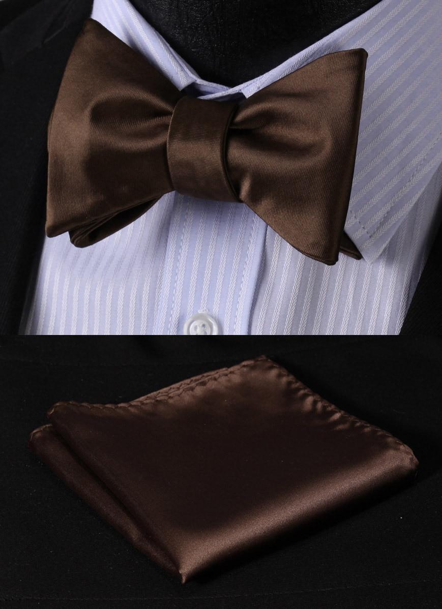 BL21Z Pure Brown Solid 100%Silk Jacquard Woven Men Butterfly Self Bow Tie BowTie Pocket Square Handkerchief Hanky Suit Set