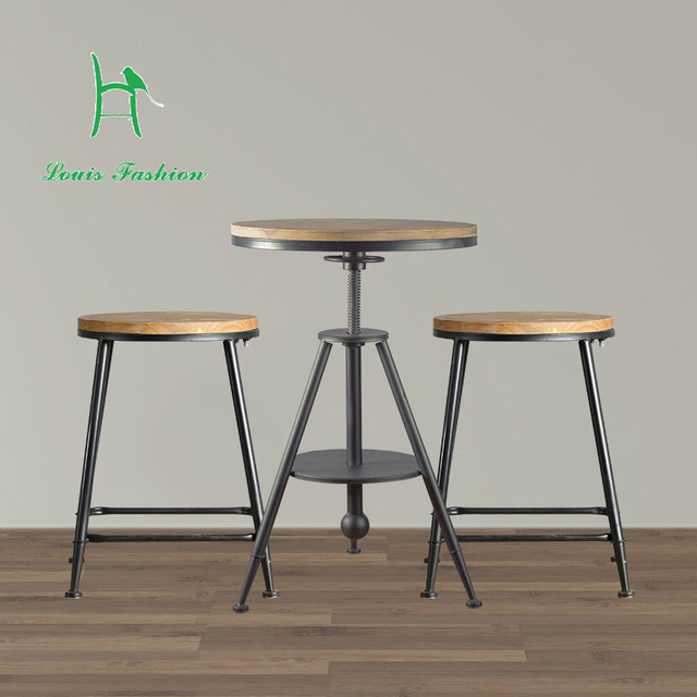 European Style Wooden Bar Chair Stool Chairs The Three Sets Of Creative Aijiao