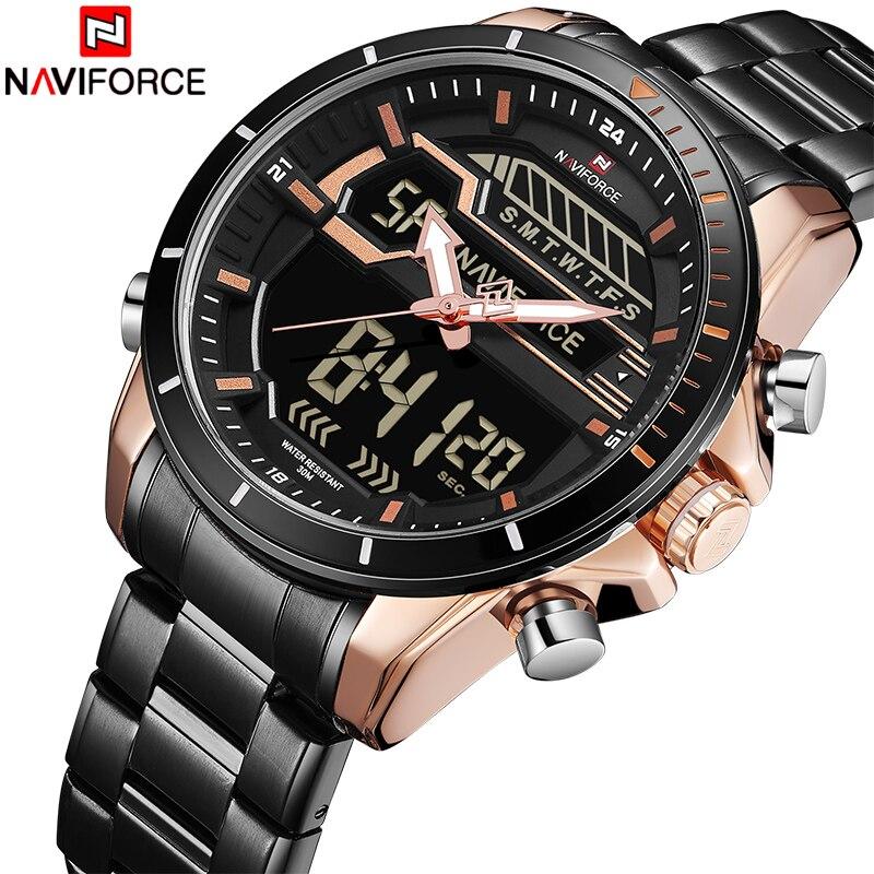 NAVIFORCE новый роскошный Для мужчин светодиодный кварцевые часы Мужская Мода в стиле милитари спортивные часы мужской Дата Цифровой Аналоговый часы Relogio Masculino