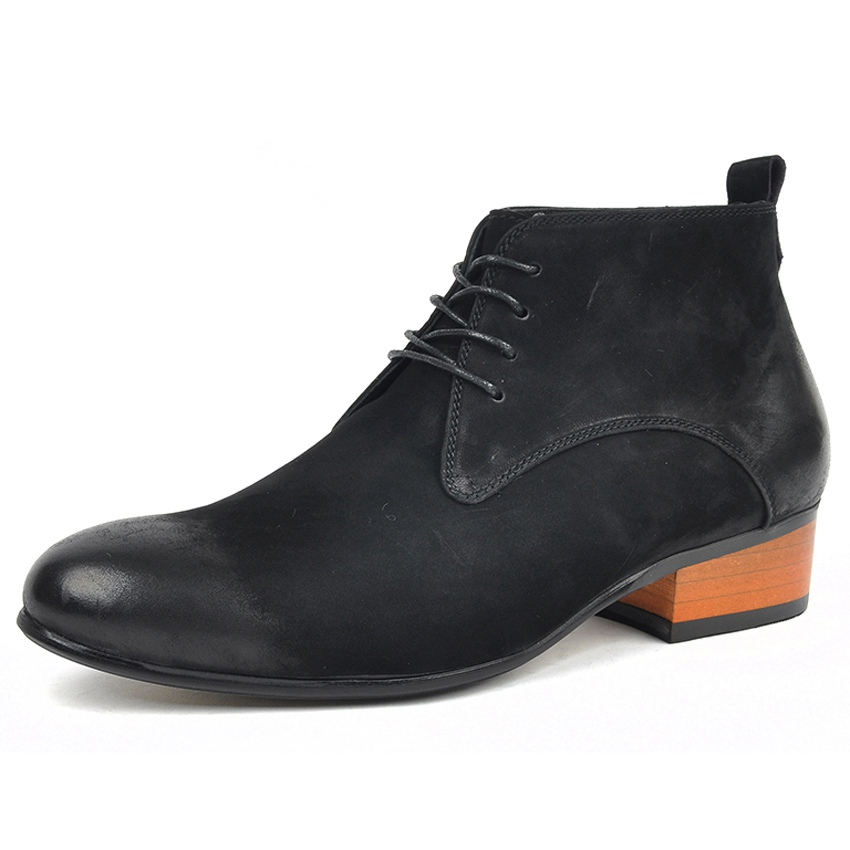 New Classic Genuine Leather Formal Dress Man Pointed Toe Ankle Boots Handmade Cow Suede Mens High-Top Cowboy Riding Shoes AM130New Classic Genuine Leather Formal Dress Man Pointed Toe Ankle Boots Handmade Cow Suede Mens High-Top Cowboy Riding Shoes AM130